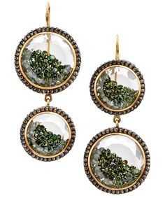 """Green diamond enclosed drop earrings from the Moritz Glik collection. Double circle drop earrings featuring gold diamonds enclosed in double white sapphires in 18k yellow gold and blackened silver. BUYER'S NOTE """"Invest in the perfect heirloom piece – these diamond earrings will standout for years to come."""" – Ruby Chadwick, Accessories and Jewellery Buyer"""