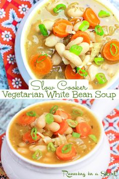 Vegetarian White Bean Soup - Slow Cooker or Crock Pot recipe. An easy, healthy, plant based, and clean eating soup for vegetarians and vegans! Uses canned beans for quick preparation. Mediterranean, Tuscan and Italian flavors. A perfect simple veggie meal idea and Vegan Crock Pot Soup. / Running in a Skirt #crockpot #slowcooker #vegetarian #vegan #plantbased #vegetariancrockpot #vegancrockpot #veganslowcooler #vegetarianslowcooker #healthy #recipe Easy Soup Recipes, Veggie Recipes, Healthy Recipes, Healthy Foods, Salad Recipes, Slow Cooker Soup, Slow Cooker Recipes, Crockpot Recipes, Vegetarian Entrees