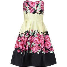 Rose Print Prom Dress (1715 RSD) ❤ liked on Polyvore featuring dresses, vestidos, short dresses, pink, multi, pink mini dress, bandeau tops, pink dress, short pink dress and pink bandeau bikini top