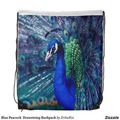 """Blue Peacock  Drawstring Backpack. 100% polyester. Dimensions: 14.75"""" x 17.3""""."""
