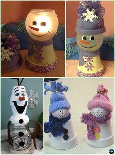 DIY Clay Pot Snowman Light or Candy Dish Instruction - DIY Terra Cotta Clay Pot #Christmas Craft Ideas #HomeDecor