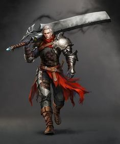 Claymore warrior, massive sword, armor, red skirt, pale hair, man, male.