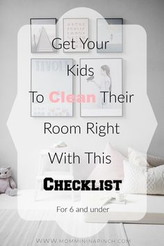 Bedroom Cleaning Checklist for Ages 6 and Under- Do you feel your child needs some guidence cleaning their room? Here is a great checklist for kids to help them clean their room. Cleaning Checklist, Cleaning Hacks, Bedroom Cleaning Tips, Cleaning Schedules, Kids And Parenting, Parenting Hacks, Parenting Styles, Chore Chart Kids, Chore Charts