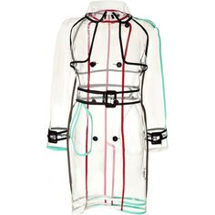 Take a high-fashion approach to functional outerwear with this cool colorblock detailed trench from rainwear specialist, Wanda Nylon. Transparent with black/re…