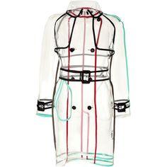 Wanda Nylon - Transparent Rain Coat with Colorblock Piping (1.625 BRL) ❤ liked on Polyvore featuring outerwear, coats, jackets, black, trenchcoat, women, nylon raincoat, nylon coat, transparent raincoat and color block coat
