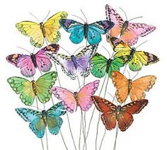 Set of 12 Feather Butterflies on Picks Floral Supplies $16