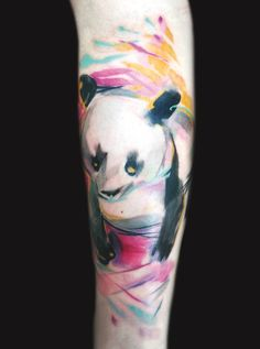 Panda in watercolor tattoo. Ondrash. Seems like a tattoo like this would only get better when you get old and it starts spreading