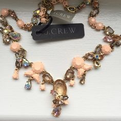 J. Crew Pale Pink Gem Necklace Awesome pale pink and jewel necklace from J. Crew. NWT -- no flaws. The perfect spring necklace to mix and match whites, neutrals, and pale colors. J. Crew Jewelry Necklaces