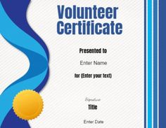 Free printable and customizable Volunteer Certificate of Appreciation. Add your own text and logo before you print. Appreciation Message, Certificate Of Appreciation, Volunteer Appreciation, Text Signature, Welcome Words, School Report Card, Birth Certificate Template, Travel Brochure Template, Sales Letter