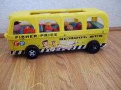 Vintae 1960's Fisher Price Little People Wood School Bus #990
