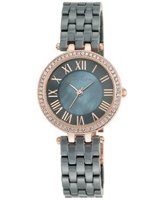 Add a gorgeous glow with this richly colored ceramic bracelet watch by Anne Klein, accented with sixty Swarovski crystals. | Gray ceramic adjustable bracelet with a jewelry clasp closure | Round rose