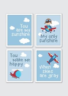 Aviation Nursery Art Airplane Nursery Art Boy by RomeCreations