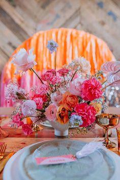 Holographic Flowers Pink Orange Modern Centrepiece Disco Wedding Ideas Lex Fleming Photo #HolographicFlowers #PinkFlowers #OrangeFlowers #Wedding Streamer Backdrop, Streamers, Backdrops, Modern Centerpieces, Wedding Centerpieces, Wedding Decorations, Disco Theme, Festival Themed Wedding, Orange Palette