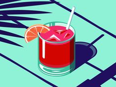 drink illustration An Isometric Cocktail Art Print by Coen Pohl Art And Illustration, Cocktail Illustration, Graphic Design Illustration, Graphic Art, Summer Cocktails, Graphic Design Inspiration, Vector Art, Vector Graphics, Banners