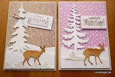 Weihnachtskarten-Weihnachten-Xmas-Christmas-Cards-Karten-Hirsche-Rehe-Kitz-Tanne-Schnee-Schneeflocken-Tags-Schneemann-Winter-verschneit-2er-Set-weiblich