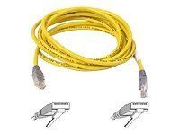 Belkin RJ45M/RJ45M 10/100BT CAT5E Crossover Cable with Molded Gray Boot 7feet (Yellow) by Belkin. $4.79. A first quality 7-foot RJ45 male-to-male Category 5e crossover cable / Innovative Snagless terminations / Yellow color This yellow, 7 foot UTP male-to-male crossover cable features 50 micron gold plated connectors to insure clean and clear transmisssion    In tests the cable exceeds the performance requirements of Category 5e    Product comes with Belkin lifetime warranty    ...