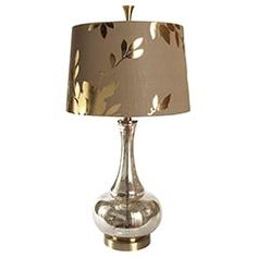Gold Leaf Glass Lamp from Pier 1 Size: x x Room Lamp, Mercury Glass, Rustic Barn, My Living Room, Lamp Shades, List, Gold Leaf, Home Accents, Light Up