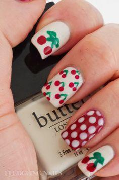 Fledgling Nails: NOTD: Cheery Cherry Nail Art