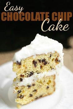 Easy Chocolate Chip Cake Recipe - this doctored cake mix recipe is easy and delicious! Paired with brown sugar buttercream - it's just like eating a cookie! #cake #chocolatechip #dessert #butter #cookie