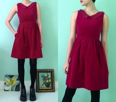 Upcycled Vintage Petite Lanz Raspberry Velveteen Mini Dress with Side Pockets by skella on Etsy, $65.00