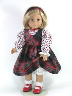 American Girl Handmade 18 inch Doll Jumper, Shirt, Headband, Pantaloons - Red Plaid Tulips - Exclusively Linda Doll Clothes
