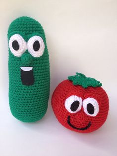 Veggie tales inspired Larry the cucumber and Bob the tomato amigurumi, ready to ship on Etsy, $34.50