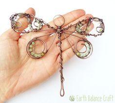 Willow Dragonfly Suncatcher. Copper Wire Work with Gem Stones.
