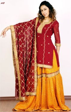 Buy this beautiful creation at 'Zarbaft' page on Facebook or go to the main FB link of this picture. <3      Indian / Pakistan Wedding / Shaadi. Yellow Red Gharara <3