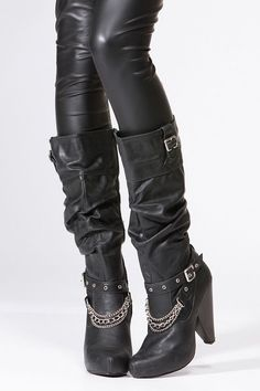 Qupid Black Chain Knee High Boot @ Cicihot Boots Catalog:women's winter boots,leather