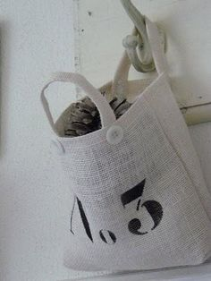 Linen bag with stenciled number