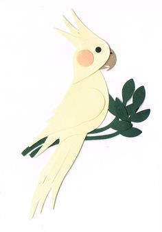 Punch art #2 - Lutino Cockatiel I created using the Stampin Up Bird Builder Punch