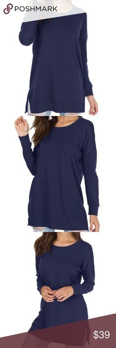 Long Sleeve Side Split Loose Casual Pullover Tunic Color: Deep Blue  Material: 50% Cotton/45% Polyester/5% Spandex.Good Elasticity, Soft and Comfortable.*There is 2-3% difference according to manual measurement.   *Compare these product measurements to a similar garment you already own.  *Take all measurements from the outside with the garment lying flat. EllaB Tops Tunics