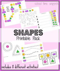 Freebie! Shapes Printable Pack includes eight different activities to help little ones recognize five basic shapes: circle, square, star, rectangle, and triangle.  Can be used with young Tots on up!