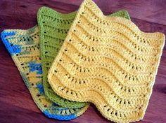 PDF Crochet Pattern for 3 Dimensional Waves, Textured Dishcloth/Washcloth. Finished Measurements: 8 inches X 8 inches cm X cm) Easy Level You will need: H mm) hook 1 cloth takes one oz skein of worsted weight cotton yarn. To retrieve pattern Crochet Towel, Cotton Crochet, Easy Crochet, Knit Crochet, Crochet Socks, Free Crochet, Dishcloth Knitting Patterns, Crochet Dishcloths, Crochet Patterns