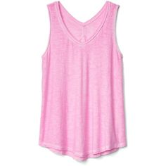 Gap Women V Back Tank ($18) ❤ liked on Polyvore featuring tops, knit tank, pink jersey, spaghetti-strap tank tops, jersey knit tank top and v neck jersey
