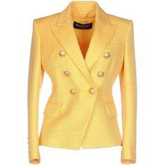 Balmain Blazer ($1,295) ❤ liked on Polyvore featuring outerwear, jackets, blazers, yellow, yellow jacket, balmain jacket, long sleeve blazer, double breasted jacket et long sleeve jacket