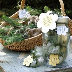 Green Wedding Favors-Go green on your wedding day. Give eco-friendly wedding favors to friends and family. Wrap tree seedlings in burlap sacks, and tie wild flower seeds in garden netting.
