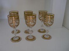 ST LOUIS FRANCE  6 Weingläser aus Kristallglas - Gold Medaillon Löwe -