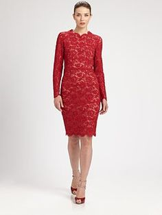 Valentino - Long-Sleeved Lace Dress