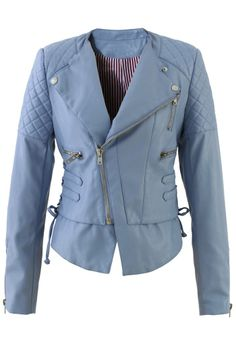 Lace Up Faux Leather Quilt Motocycle Jacket in Blue