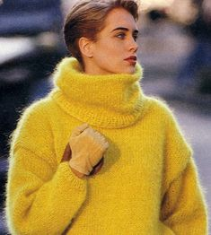 Angora, Thick Sweaters, Vintage Wool, Knitting Patterns, Turtle Neck, Yellow, Jumpers, Dreams, Fashion