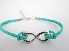 Turquoise Color Leather Infinity Bracelet by MaesDesigns on Etsy, $10.00