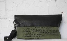 Army Green Clutch Wristlet Bag / Black Leather Purse / by artlab, $118.00