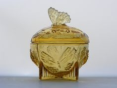 """1930s Sowerby """"Butterfly"""" amber glass trinket box"""