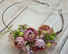 Corona de flor blanca Fern corona corona de flores Boho