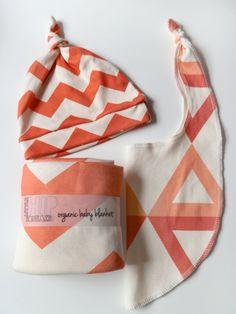 bright poppy + coral chevron baby blanket, hat and bib set.