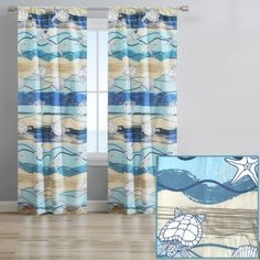 BEACH-INSPIRED DESIGN: Bring the beach to your home with this coastal print! Features a print of turtles, seashells, and beach views in shades of blue and tan.