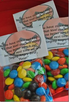 "Angry Bird Poop Treat Bags of M&M's. Poem Reads: ""You have stolen our eggs. To that level you will stoop. You better watch out because next time we are flinging Angry Bird Poop! Bird Birthday Parties, Birthday Diy, Angry Birds, Party Treats, Party Favors, Party On Garth, Ninjago Party, Bird Party, Party Time"