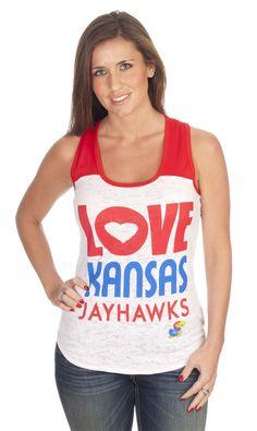 Kansas ku women 39 s love kansas jayhawks tank top for Funny kansas jayhawks t shirts