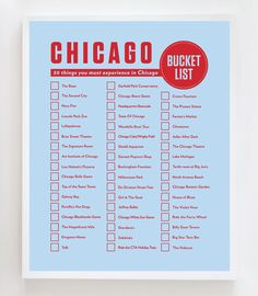 "Possible things to do in Chicago. ""Introducing the latest design to my ""Bucket List"" series.the Chicago Bucket List! Chicago Vacation, Chicago Travel, Chicago City, Chicago Trip, Chicago Style, Chicago Illinois, Visit Chicago, List Design, Bucket Lists"
